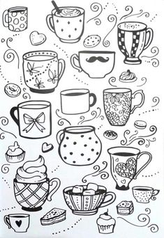 Livro de Colorir Arteterapia Criativa – Adult Coloring pages Cupcake cup tea – I… Coloring Book Creative Art Therapy – Adult Coloring pages Cupcake cup tea – Ideas In Crafting Adult Coloring Pages, Colouring Pages, Coloring Books, Doodle Drawings, Easy Drawings, Doodle Art, Doodle Images, Doodle Inspiration, Bullet Journal Inspiration