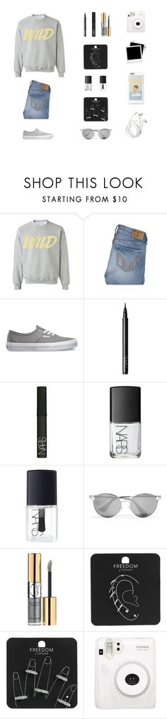 """""""30 Day Challenge: 13.] Your opinion on your body and how comfortable you are with it."""" by musicsavedme1313 ❤ liked on Polyvore featuring Hollister Co., Vans, NARS Cosmetics, Prada, Yves Saint Laurent, Topshop, Fuji and Polaroid"""