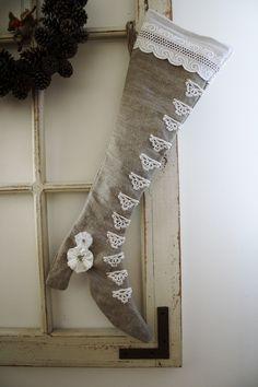homemade christmas ornament. - - shabby chic christmas stocking - Inga Rut