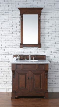 """Brookfield 36"""" Warm Cherry Single Vanity with 4 CM Carrara White Marble Top"""