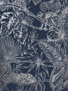 This gorgeous Sumatran Wallpaper will make a unique focal point in your home. The stylish design features tropical plants and foliage as well as exotic monkeys, lemurs, toucans and tigers all in a beautiful sparkling metallic silver finish. This is set on a deep navy blue background with a smooth matte finish for a stunning contrast. Easy to apply, this high quality wallpaper would look great as a feature wall, or equally as good when used to decorate a whole room. Lemurs, Tropical Wallpaper, Navy Blue Background, Paper Wallpaper, High Quality Wallpapers, Tropical Plants, Exotic Pets, Monkeys, Blue And Silver