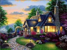 Fairy tale style 3D mosaic patterns picture Diamond painting scenery house Canvas Oil Embroidery stitch with diamond craft hobby