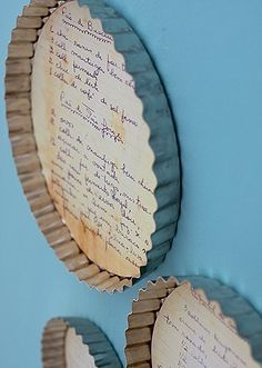 recipes framed in pie tin                                                                                                                                                                                 More