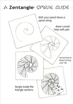 Zentangle Patterns | Zentangle Spiral Guide | 3 Zentangle/Doodle Directions
