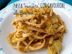 Pasta incaciata alla brontese con Cavolfiori e Farina di Mandorle. Tutti gli ingredienti sono vegetali e salutari.