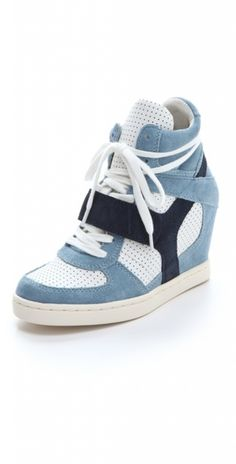 i dont care what anybody says, i think sneaker heels are soooo cute! Blue Sneakers, Wedge Sneakers, Wedge Boots, Kicks Shoes, Esquivel, Bling Shoes, Sneaker Heels, Suede Shoes, Types Of Shoes