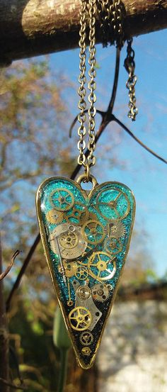 Timeless Turquoise Steampunk Heart Pendant