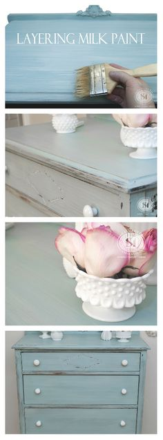 Beautiful Painted Finish by Layering Milk Paints! | Salvaged Inspirations