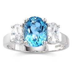 Sterling Silver 2.3-Carat Genuine Blue Topaz 3-Stone Ring