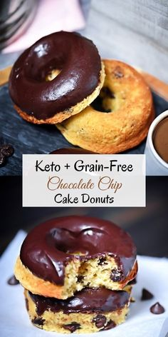 Scrumptious Low-Carb, Grain-Free Chocolate Chip Cake Donuts! #easyrecipe #grainfree #glutenfreebaking #breakfast #keto #lowcarb #chocolatechip #donuts #breakfast #cake #healthyrecipes #diet #sugarfree Chocolate Chip Cake, Keto Chocolate Chips, Stevia Chocolate, Chocolate Glaze, Breakfast Cake, Breakfast Recipes, Dessert Recipes, Desserts, Low Carb Breakfast