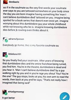 Lol. I don't watch or read harry potter but this could pertain to any fandom where someone dies.