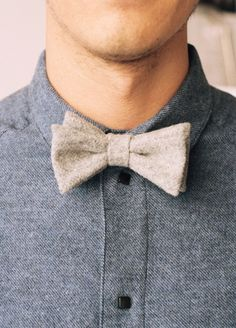 Wool bow tie with textured shirt. Not too hyped on the bow tie, but that's a fantastic shirt.