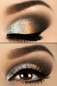 Metallic lava eye makeup look, with makeup products list, winged eyeliner tutorial, smokey eyes makeup, eyeshadow and lipstick colours, party makeup, silver eyeshadow, gold eyeshadow, bronze eyeshadow