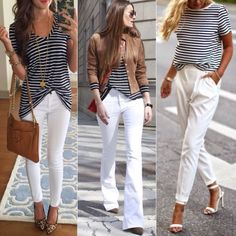 A fashion look from August 2014 featuring Soaked in Luxury tops, J.Crew tops and 7 For All Mankind jeans. Browse and shop related looks. Business Casual Outfits, Casual Summer Outfits, Spring Outfits, Mode Outfits, Chic Outfits, Fashion Outfits, White Pants Outfit, Look Office, Look Blazer