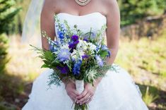 Leafy bouquet with fleck of rich blue. Would add in the slightest hint of yellow to get a little clash going too Blue Wedding Flower Arrangements, Rustic Wedding Flowers, Bridal Flowers, Floral Wedding, Hydrangea Centerpieces, Woodland Wedding, Purple Wedding, Wedding Colors, Wedding Flower Guide