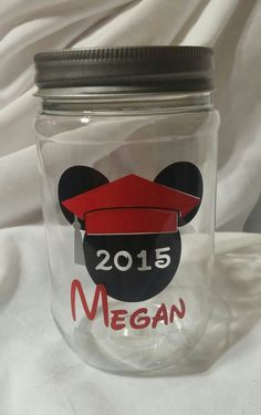 Graduation Mickey Mason Jar Tumbler   Using 651 Oracle Permanent Vinyl and Silhouette Cameo  www.facebook.com/thequeenbeechic