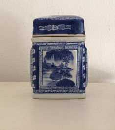 Vintage Chinese Porcelain tea caddy blue and white decor by MyVintageApartment on Etsy Hamptons Style Decor, The Hamptons, Tea Caddy, White Decor, Decorative Boxes, Porcelain, Chinese, Blue And White, Hand Painted