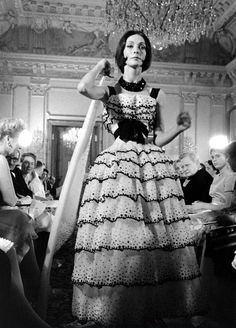 1959 Kouka Denis models a gown at Christian Dior's show in Moscow, photo by Howard Sochurek