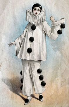 Use the costumes of stock characters such Pierrot, Harlequin, and Columbine as inspiration. Costumes, How to Do Keka❤❤❤ Pierrot Costume, Pierrot Clown, Cirque Vintage, Vintage Clown, Vintage Carnival, Vintage Halloween, Circus Clown, Circus Theme, Circus Party