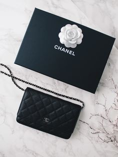 Chanel wallet on chain in classic quilt black caviar with silver ... 2d23b4fdc7