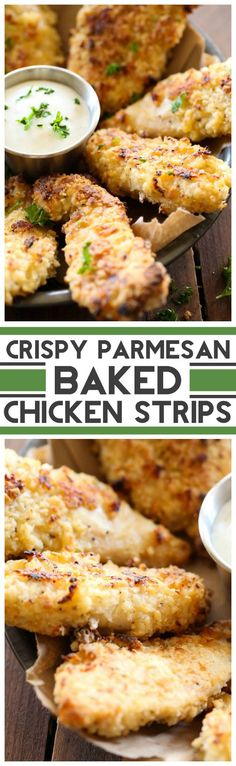 Crispy Parmesan Baked Chicken Strips ~ This chicken is cooked to perfection. The flavor is SO amazing! Turkey Recipes, Meat Recipes, Chicken Recipes, Dinner Recipes, Cooking Recipes, Healthy Recipes, Parmesan Recipes, Recipe Chicken, Restaurant Recipes
