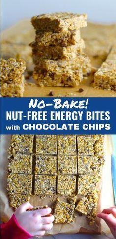These Easy Nut-Free, No-Bake Energy Bites with Chocolate Chips are magnificent! They are sweet, chewy, crunchy, & healthy. Only minutes to make & no Baking! High Protein Snacks, Healthy Snacks, Healthy Eats, Healthy Recipes, Healthy Breakfasts, Eating Healthy, Nut Free, Dairy Free, Gluten Free