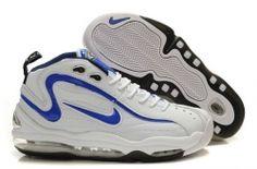 Nike Air Total Max Uptempo Retro shoes in white/blue Sneakers N Stuff, Air Max Sneakers, Sneakers Nike, Top Basketball Shoes, Retro Shoes, Shoe Sale, Jordan Shoes, Black Men, Nike Air Max