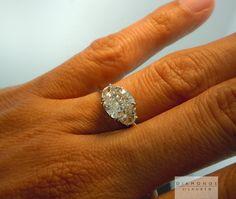 Cushion Cut Three Stone Engagement Ring
