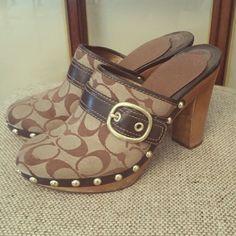 Coach platform mules Wooden heel; leather trim Coach Shoes Mules & Clogs