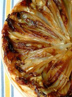 pâte feuilletée, endive, crottin de Chavignol, beurre, herbes de Provence, sucre, poivre, Sel