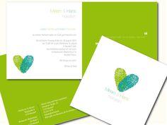 Wunderschöne Hochzeitskarte für euer rauschendes Fest.     *Eure eigenen Fingerabdrücke machen diese Einladungskarten zu etwas Einmaligem.*      St...