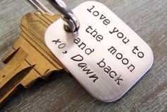 Sterling Silver Keychain Personalized, Gift for Him, Dad Grandpa Husband - love you to the moon and back on Etsy, $33.00
