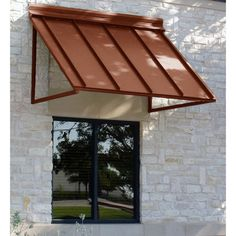 Houstonian Metal Standing Seam Awning in. H x 36 in. D) in Copper at The Home Depot - Mobile THE NEW HQ Beauty-Mark 5 ft. Houstonian Metal Standing Seam Awning in. H x 36 in. D) in Copper at The Home Depot - Mobile Polycarbonate Roof Panels, Windows And Doors, Metal Awnings For Windows, Exterior Windows, Exterior Colors, Aluminum Awnings, Black House Exterior, Bay Windows, Bedroom Windows