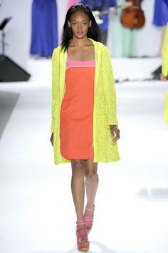 Nanette Lepore's Spring 2012: Yellow coat, orange dress.