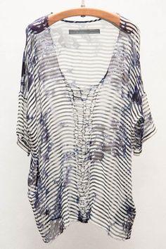 Raquel Allegra Crochet Tie Dye Stripe Tee $396 - Available now at Heist