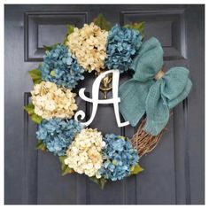 Items similar to Everyday Wreath, Gold Wreath, Door Decor Wreath, Hydrangea Wreath with Gold Bow, Wreaths on Etsy Monogram Wreath, Monogram Letters, Diy Wreath, Grapevine Wreath, Burlap Wreath, Burlap Crafts, Wood Letters, Monogram Fonts, Double Door Wreaths