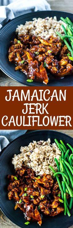 Jamaican Jerk Cauliflower vegan, gluten-free Healthy Dinner Ideas for Delicious Night & Get A Health Deep Sleep Vegan Vegetarian, Vegetarian Recipes, Healthy Recipes, Paleo, Free Recipes, Vegan Food, Delicious Recipes, Veggie Dishes, Vegetable Recipes