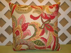 Floral Pillow Cover in Red-Orange Yellow Green Cream / Accent Pillow / Decorative Pillow /18 x 18 Pillow #pottiteam