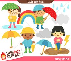 Spring Rain Clip Art and Digital Stamps  by LittleRedsClipArt