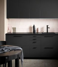 IKEA just keeps upping their sustainability game. bottles are used to create each of these IKEA kitchen units, designed by Swedish studio Form Us With Love. Black Kitchen Cabinets, Kitchen Units, Black Kitchens, New Kitchen, Cool Kitchens, Minimal Kitchen, Ikea Kitchens, Black Ikea Kitchen, Kitchen Cabinetry