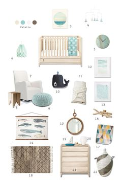 style board for Apartment Therapy. Kids Room Style Board: Beyond the North Sea #Modern #Scandinavian #Nursery Visit www.lexandliv.com to see more designs @giggle @The Land of Nod