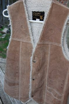 9147354e4a7e1 Mens Vintage 70s Embossed Suede Western Vest by MaidenhairVintage