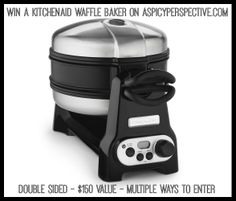 The KitchenAid Dual-Sided Belgian Waffle Baker makes 2 gourmet quality grand Belgian waffles in just minutes. CermaShield coating on the nonstick surface prevents scratches and is easy to clean. Plus, the space-saving design allows for easy storage. Waffle Maker Reviews, Best Waffle Maker, Belgian Waffle Maker, Belgian Waffles, Best Waffle Recipe, Waffle Recipes, Kitchenaid Pro, Gourmet, Kitchens