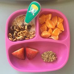 #latepost of today's breakfast for princess A. Multigrain & chocolate Cheerios with whole milk, half of a mandarin, two strawberries and a left over banana oat ball. A ate all of her Cheerios, some mandarins and half of her oat ball. #toddlermeals #toddlermealideas #blw #blwideas #babyledweaning #breakfasttime #whatmykideats #whatifeedmykid #feedthebelly #18monthsold #teenytinymeals