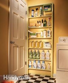 The space behind a door is a storage spot that's often overlooked. Build shallow shelves to fit behind the door in your laundry room, utility room or pantry.
