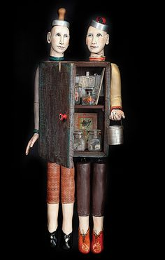 Joan Rasmussen, Artist, Hunt & Gather, 2012, clay, found objects, 36 x 16 x 8in., photo: Bob Moffa #Rasmussen #mixedmedia #PurelyInspiration