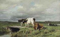 Anton MAUVE (1838-1888, Dutch painter): Cattle in an extensive polder landscape