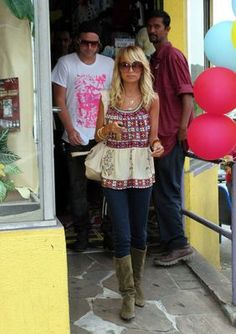 Nicole Richie wearing Anna Sui Stained Glass Silk Top, Balenciaga City Bag in White,  Out with Chad Muska July 04 2006