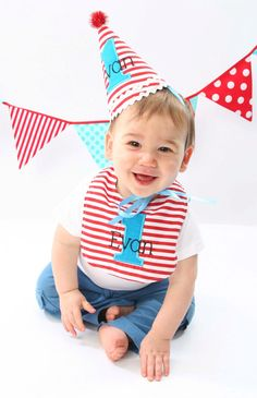 Items similar to Boys first birthday hat - Dr. Seuss theme - Red and white stripes - Free personalization - Keepsake on Etsy First Birthday Hats, Dr Seuss Birthday Party, Baby Birthday, First Birthdays, Birthday Ideas, Birthday Decorations, Funny Happy Birthday Images, Birthday Pictures, Banner