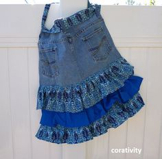 Items similar to Apron with Tiered Blue Ruffles Upcycled from Jeans on Etsy Recycle Jeans, Upcycle, Sewing Crafts, Sewing Ideas, Sewing Projects, Jean Apron, Cool Aprons, Jean Crafts, Jean Skirts